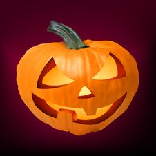 A Ceramic Halloween Jack O Lantern Pumpkin. EPS 8 Stock Image