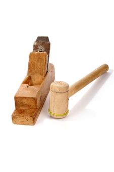 Free Old Wooden Planer And Mallet Royalty Free Stock Photos - 18028058