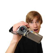 Free Young Adult Man With HD Camcorder Royalty Free Stock Photography - 18028127