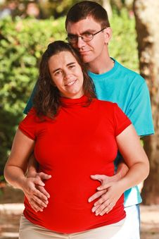 Free Expecting Couple On The Park Royalty Free Stock Photography - 18028137