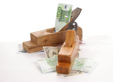 Free Work And Earn. Old Wood The Planer And Banknotes Stock Photos - 18028163