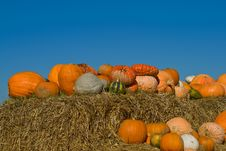 Free Pumpkins On Bales Of Straw (hay) Stock Image - 18029131