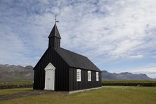 Beautiful Black Chrch In Iceland Royalty Free Stock Photography