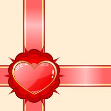 Gift Ribbon With Red Heart Stock Image