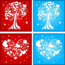 Free Lovely Tree And Heart Background Royalty Free Stock Photography - 18029587