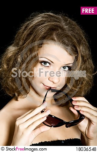 Free Portret Sexy Young Woman Over Black Background Royalty Free Stock Photos - 18036548