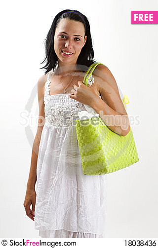 Free Woman In White Summer Dress With Shopping Bag Royalty Free Stock Image - 18038436