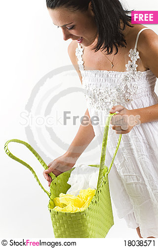 Free Woman In White Dress Looking Inside Shopping Bag Stock Image - 18038571