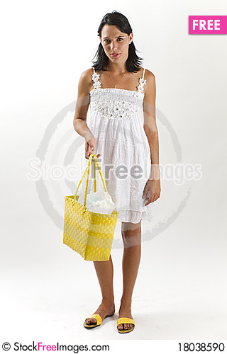 Free Woman In White Summer Dress With Shopping Bag Stock Photo - 18038590