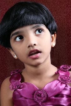 Portrait Of Cute Indian Girl Stock Photos