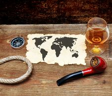 Free Old Paper, Pipe And Glass Of Cognac Stock Photo - 18030400