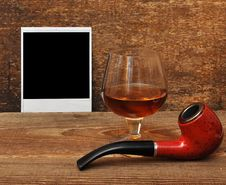 Free Old Photo, Pipe And Glass Of Cognac Royalty Free Stock Photography - 18030577