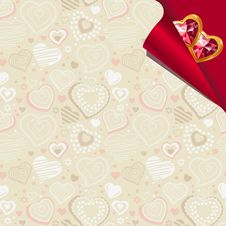 Free Pattern With Beige Contour Hearts Royalty Free Stock Image - 18030796