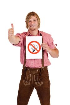 Free Smiling Bavarian Man Agrees To Non-smoking-rule Royalty Free Stock Image - 18031976