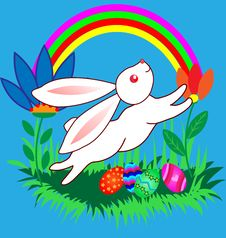 Free Easter Bunnyes With Eggs, Flowers And Rainbow Royalty Free Stock Images - 18032019