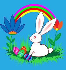 Free Easter Bunnyes With Eggs, Flowers And Rainbow Royalty Free Stock Photos - 18032048