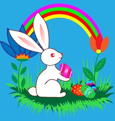 Free Easter Bunnyes With Eggs, Flowers And Rainbow Stock Photo - 18032050