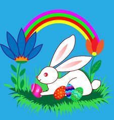 Free Easter Bunnyes With Eggs, Flowers And Rainbow Stock Image - 18032051
