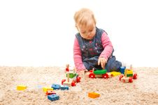 Free Little Girl Playing On The Floor Stock Photos - 18032153