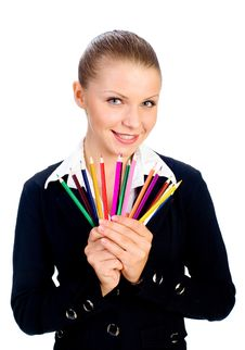 Businesswomen With Colorful Pencil.  Isolated Royalty Free Stock Photos