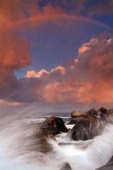 Free Rainbow Over Stormy Sea Stock Photo - 18032270
