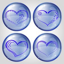 Free Buttons, Valentine Heart, Set Royalty Free Stock Photography - 18032487