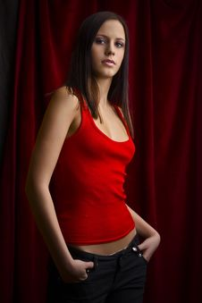 Free Young Girl In Red Shirt Royalty Free Stock Photos - 18033548