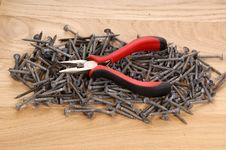Free Pile Of Old Screws And Pliers Royalty Free Stock Photos - 18033738
