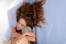 Free Cute Teenage Girl Sleeping On The Bed Stock Photography - 18034082