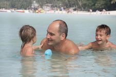 Free Happy Family In Water Stock Photography - 18037562