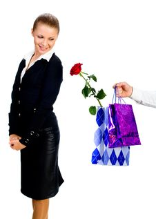 Free The Man Gives To The Woman Gifts Royalty Free Stock Photos - 18038048
