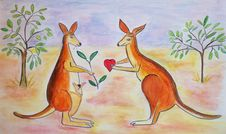Free Adorable Kangaroos In Love Royalty Free Stock Photography - 18038137