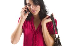 Free Young Career Woman Talking On A Cellphone Royalty Free Stock Photography - 18038337