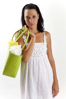 Woman In White Summer Dress With Shopping Bag Stock Image