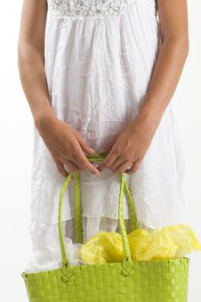 Woman In White Summer Dress With Shopping Bag Stock Photography
