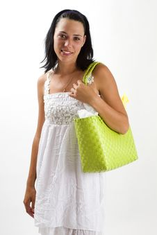 Woman In White Summer Dress With Shopping Bag Royalty Free Stock Image