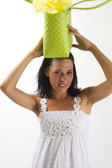 Free Woman In White Summer Dress With Shopping Bag Stock Photo - 18038460