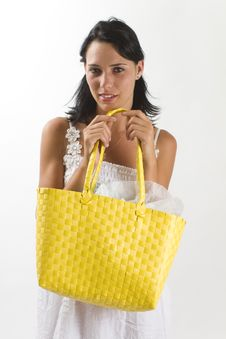 Woman In White Summer Dress With Shopping Bag Royalty Free Stock Photography