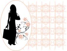 Free Silhouette Elegant Woman In The Decorative Frame Royalty Free Stock Photography - 18038937