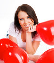 Free Young Brunette With Red Hearts Isolated Royalty Free Stock Images - 18041869