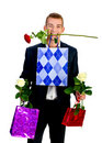 Free Young Man With Rose And Shopping Bag Royalty Free Stock Photo - 18043305