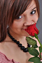 Free Beautiful Woman With Red Rose Stock Image - 18046461