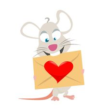 Free Mouse With Love Symbol Stock Photography - 18040692