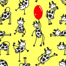Free Seamless Pattern With Funny Cow Stock Images - 18041394