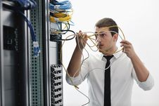 Free Young It Engeneer In Datacenter Server Room Stock Images - 18041654