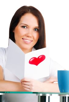 Free Girl Is Reading A Valentine Stock Photography - 18041792