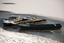 Free Fishing Boats On Frozen Water Stock Images - 18041864