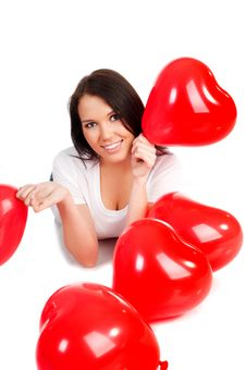 Free Young Brunette With Red Hearts Isolated Royalty Free Stock Photo - 18041925