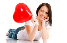 Young Brunette With Red Hearts Isolated Royalty Free Stock Photo