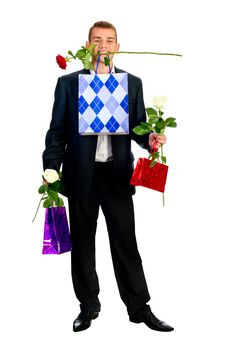 Free Young Man With Rose And Shopping Bag Royalty Free Stock Photo - 18043255